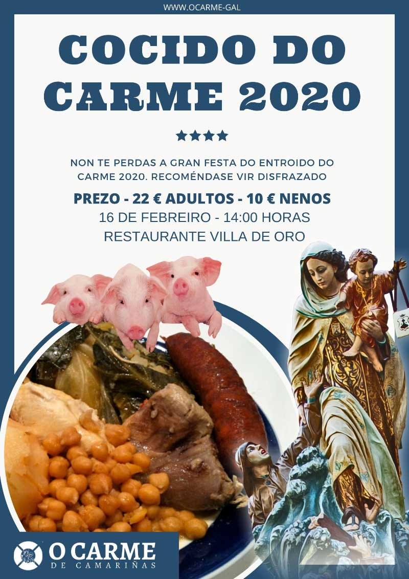 Cartel do grandioso Cocido do Carme 2020